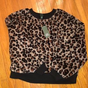 NWT Animal Print Crewneck Faux Fur Sweatshirt